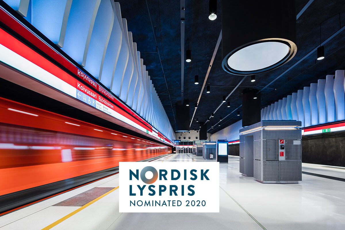 Helsinki metro stations nominated in Nordic Lyspris 2020