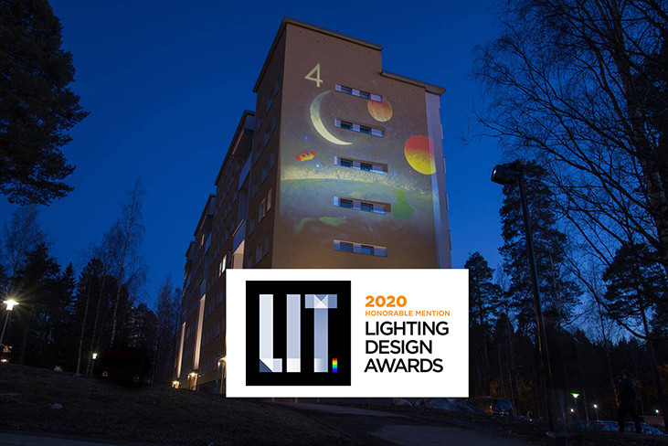 Honorable mention to collective light mural neighbourhood in Finland
